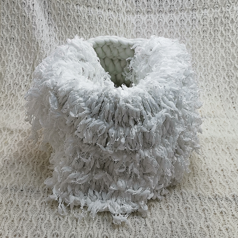 150*100cm Baby Posing Layer Backdrop+Knitted Basket+50cm Hand Crochet Round Blanket with Fringe for Newborn Photography Prop