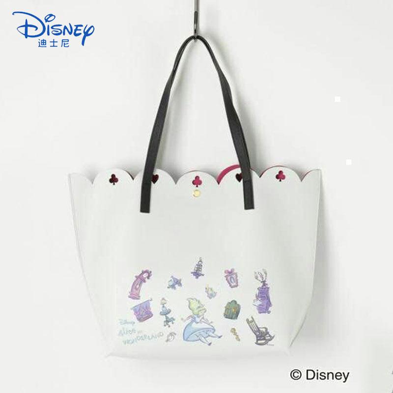 Disney Handbag COLORS Series Alice Lace Hollow Shoulder Bag Mobile Phone Bag Women Leather Luxury Handbags Women Bags Designer