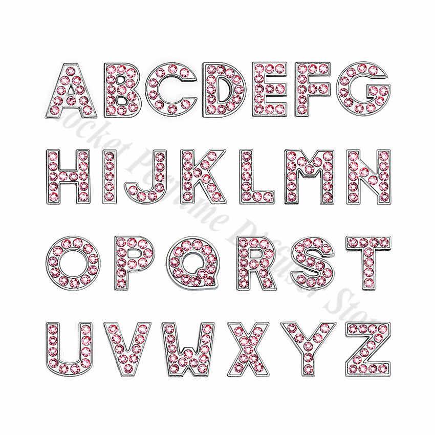 1pc A-Z 8mm 핑크 전체 라인 석 슬라이드 편지 맞는 DIY 팔찌 & 팔찌 & 애완 동물 목걸이 쥬얼리 여성을위한 만들기