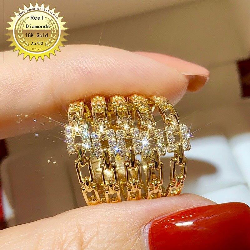 Bague en diamants en or 18 carats, fiançailles et mariage, bijoux naturels en vrais diamants, avec certificat 003