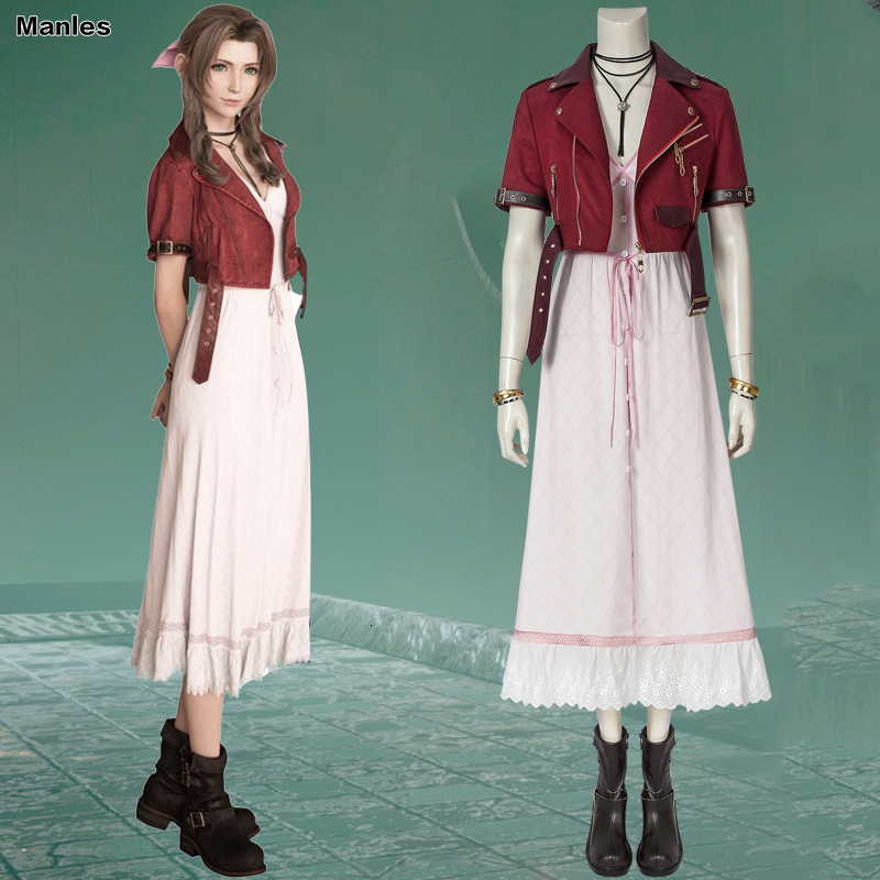 Game Final Fantasy VII Cosplay Aerith Gainsborough Costume Fancy Dress Skirt Halloween Costumes For Women Carnival Adult Boots