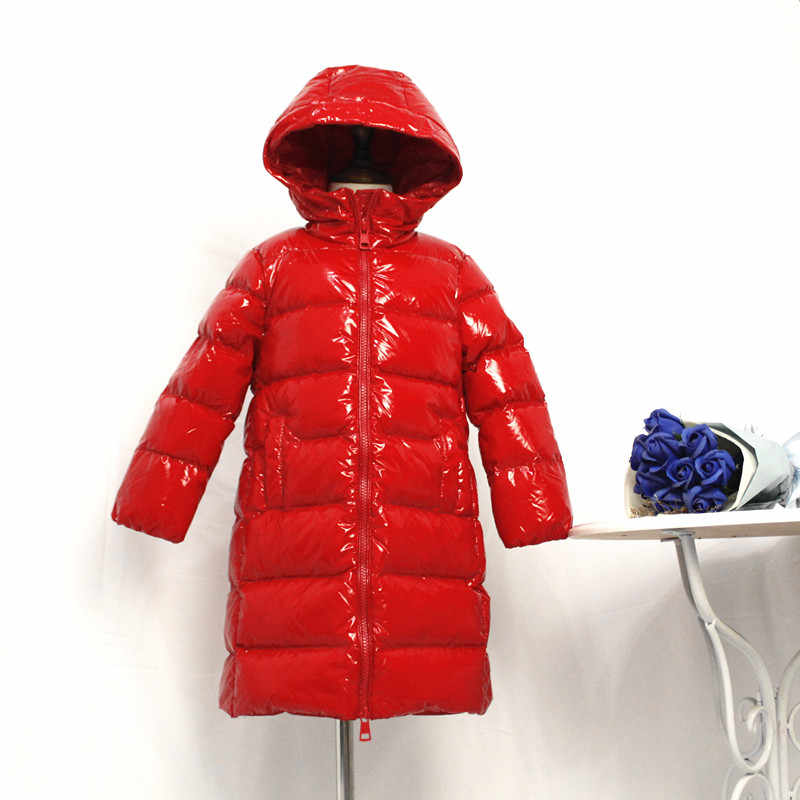 2019 New Kids Winter Duck Down Coats Girls Shiny Thicken Hooded Jacket Russian Outerwear Children Snowsuit Waterproof Outfit