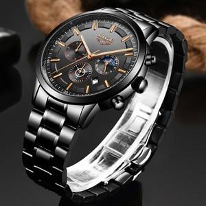 Image 4 - Mode hommes montres LIGE Top marque étanche Sport montre chronographe hommes décontracté en acier inoxydable Quartz horloge Relogio Masculino