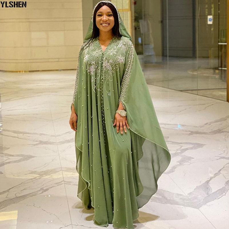 Length 150cm Africa Dress African Dresses for Women Dashiki Diamond Beaded Traditional Boubou African Clothes Abaya Muslim Dress