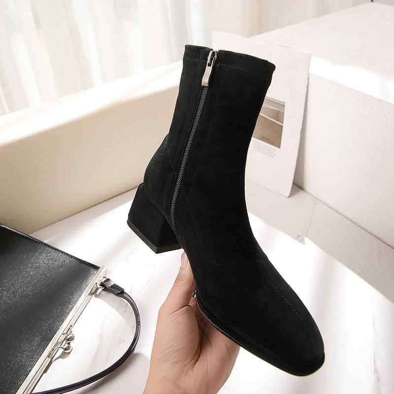 Moda akın yuvarlak ayak zip zarif med topuklar yarım çizmeler muhtasar ofis bayan streç çizmeler klasikleri parti kadın kış ayakkabı L31