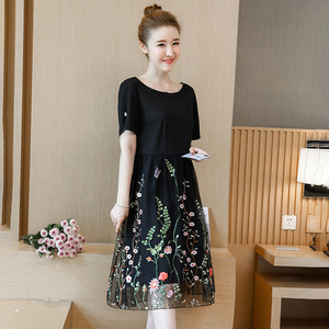 Image 5 - L 5XL Large Size Women Summer New elegant Knee Length Mesh Embroidered Fairy Korean Age Reduced Slim Plus Size Cocktail Dresses