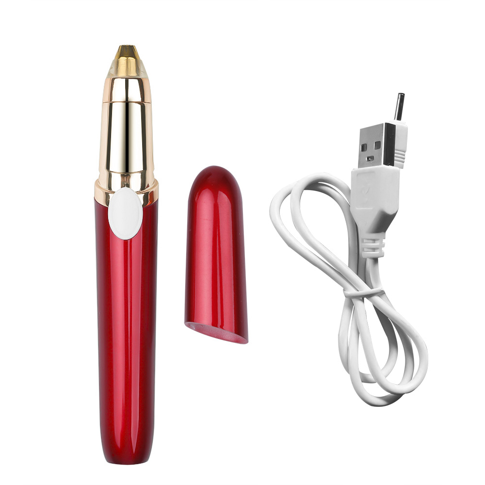 Eyebrow Epilator Lipstick Electric Eyebrow Trimmer Eye Brow Shaver Painless Make Up Eye Brow Face Hair Remover USB for Female
