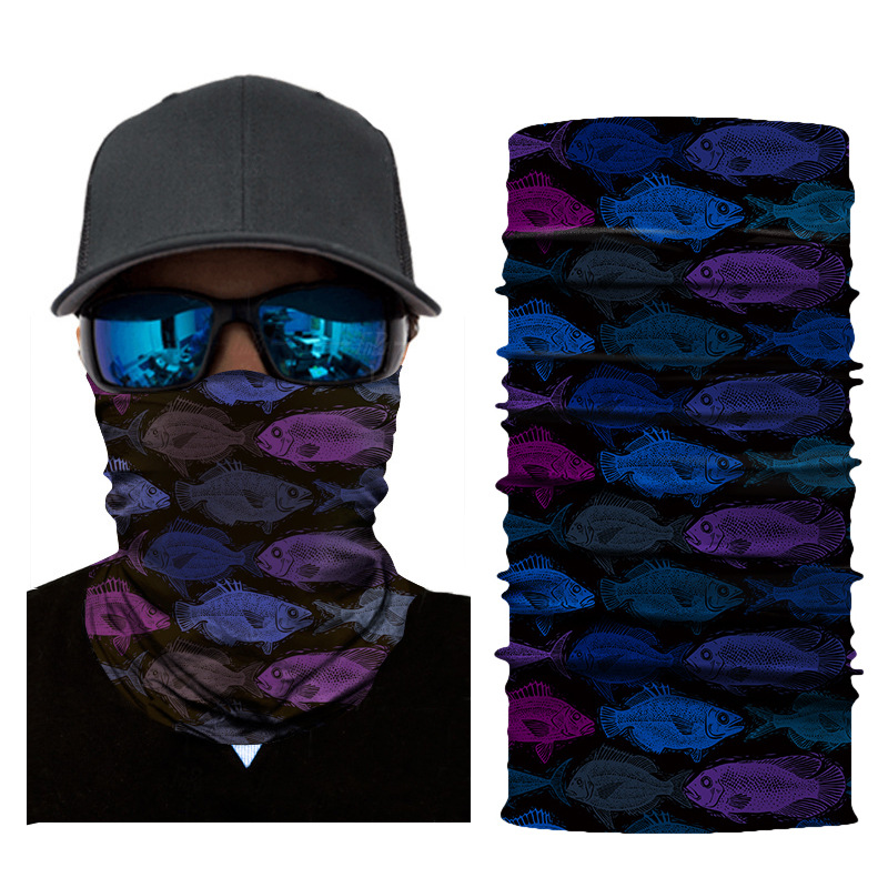 1pc Face Mask Color Fish Balaclava Head Cover Fishing Cycling Outdoor Face Mask Head Hair Band Hood Scarf Pirate Hat Wristbands
