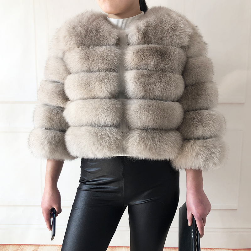 2019 new style real fur coat 100% natural fur jacket female winter warm leather fox fur coat high quality fur vest Free shipping 143