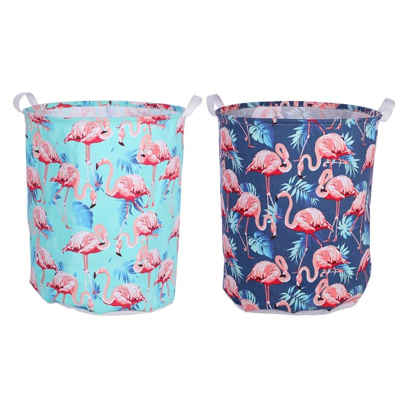 Light green large flamingo cotton linen dirty clothes bucket waterproof closet organize storage bucket cloth art laundry basket|Laundry Baskets| |  - title=