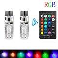 1 пара T10 5050 Автомобильные светодиодные лампы с дистанционным управлением 6 Smd разноцветные RGB бокосветильник пы F-Best