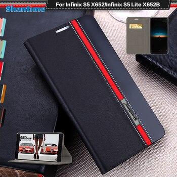 Перейти на Алиэкспресс и купить Роскошный чехол из искусственной кожи для Infinix S5 X652 флип-чехол для Infinix S5 Lite X652B чехол для телефона Чехол Мягкий ТПУ силиконовый чехол для зад...