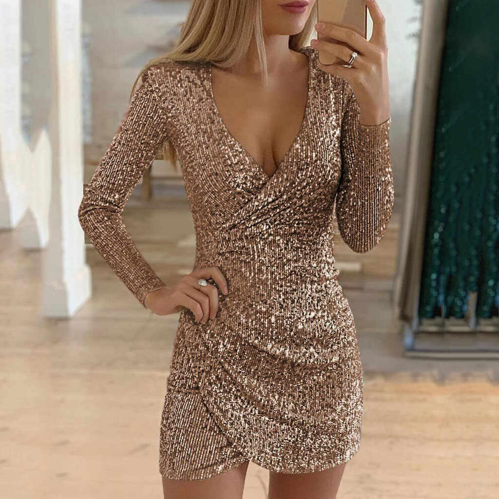 Dress Women Nude Sexy Sequined Bodycon mini dress Women V-neck Self Cultivation Dresses Slim Elegant Ladies evening Party Dress
