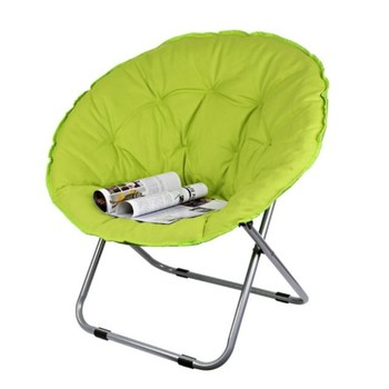 Folding Large Size Round Moon Saucer Camping Chair with Steel Frame Oxford Cloth Padded Seat Portable Moon Chair 7 Colors