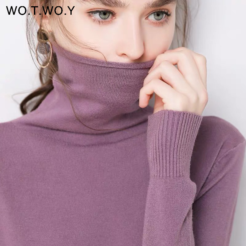 WOTWOY Autumn Winter Slim Turtleneck Sweater Women Basic Bottoming Knitwear Women Knitted Cotton Pullovers Femme Jumper 2020 New