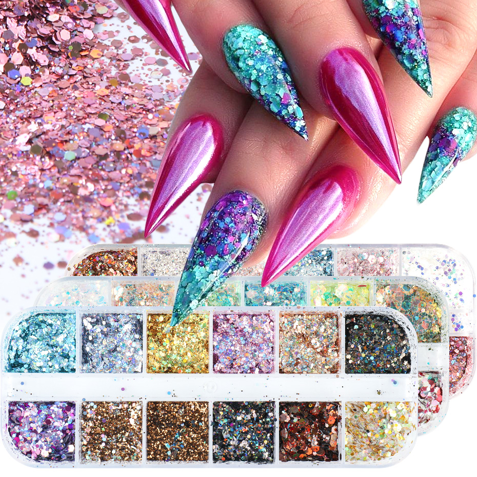 Mixed Nail Glitter Powder 3D Hexagon Flakes Decorations Nail Art Sequins Charms Designs Sparkles Holographic Pigment Dust TR1585