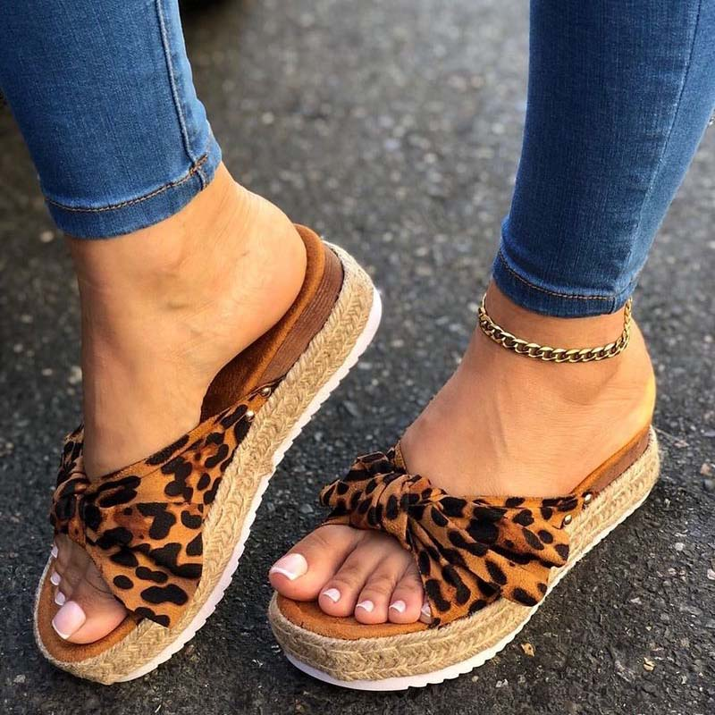 Women Summer Sandals Mid Heels Sandals Plus Size Wedges Shoes Woman Sweet Bowties Slippers Sandalias Mujer Sapato Feminino