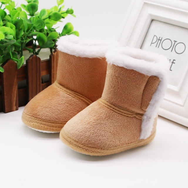 DOGEEK Winter Baby Boys Girls Shoes First Walker Winter Infants Warm Shoes Faux Fur Girls Baby Booties Leather Boy Baby Boots 3