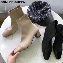 Fashion Slim Stretch Ankle Boots Women Round Toe Sock Low Heel Knit Elegant womens shoes  zapatos de mujer