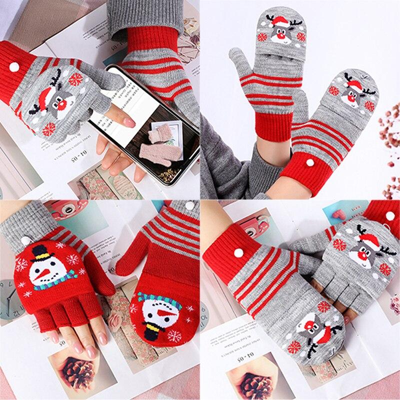 1Pair Women Vintage Christmas Deer Knitted Gloves Thicken Touch Screen Gloves Winter Warm Snow Elk Full Finger Mittens Xmas Gift
