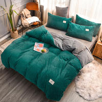New magic velvet Fleece bedding set 4pcs stripe duvet cover flat fitted sheet pillowcase flannel winter warm bed linen