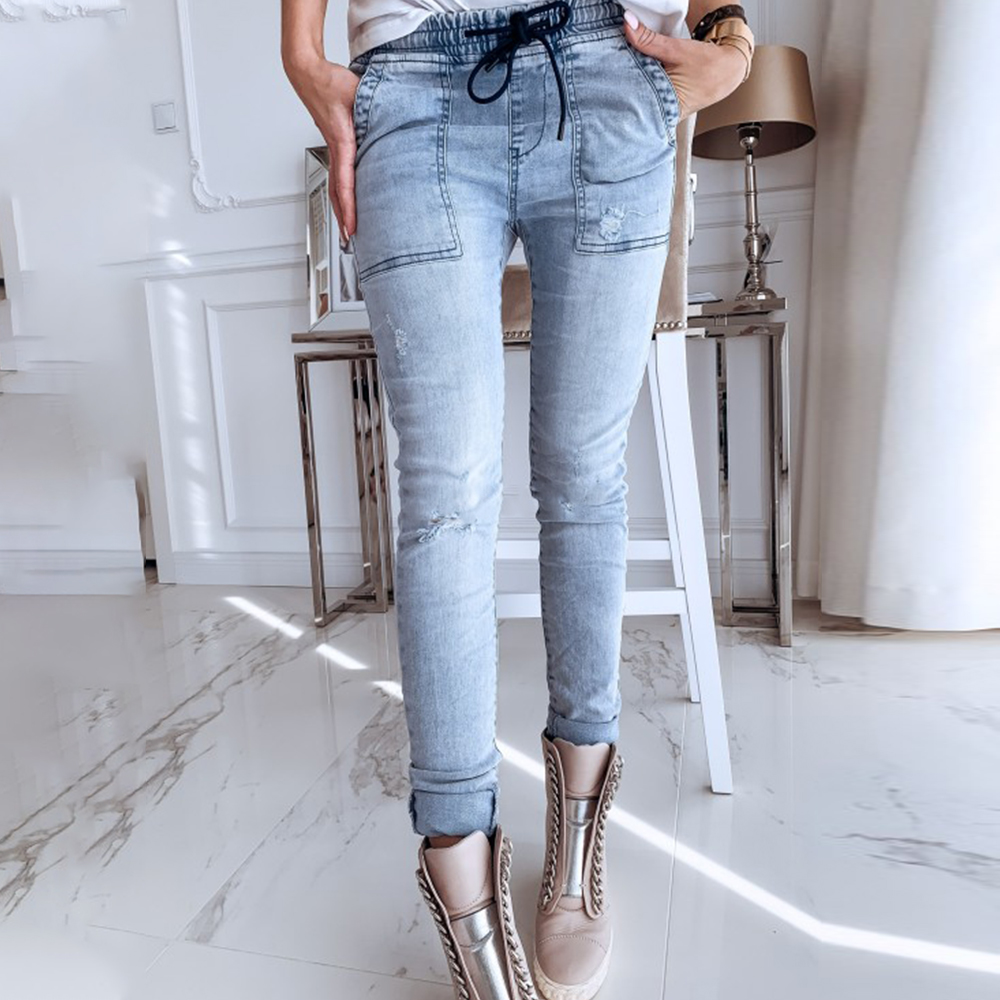Women Low Waist Skinny Jeans Washed Blue Fashion Lady Ripped Jeans Slim Denim Pencil Pants Casual Female Full Length Trouser D30
