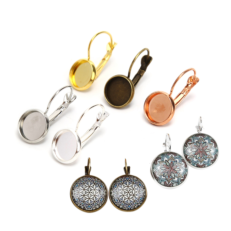 10pcs/lot Blank Base Bezels Tray Round French Lever Cabochon Earring Setting DIY Jewelry Making