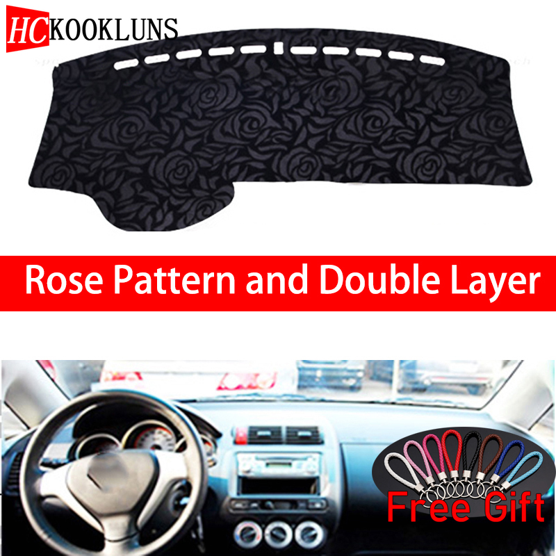 Rose Pattern For Honda fit 2004 2005 2006 2007 Dashboard Cover Car Stickers Car Decoration Car Accessories Interior Car Decals