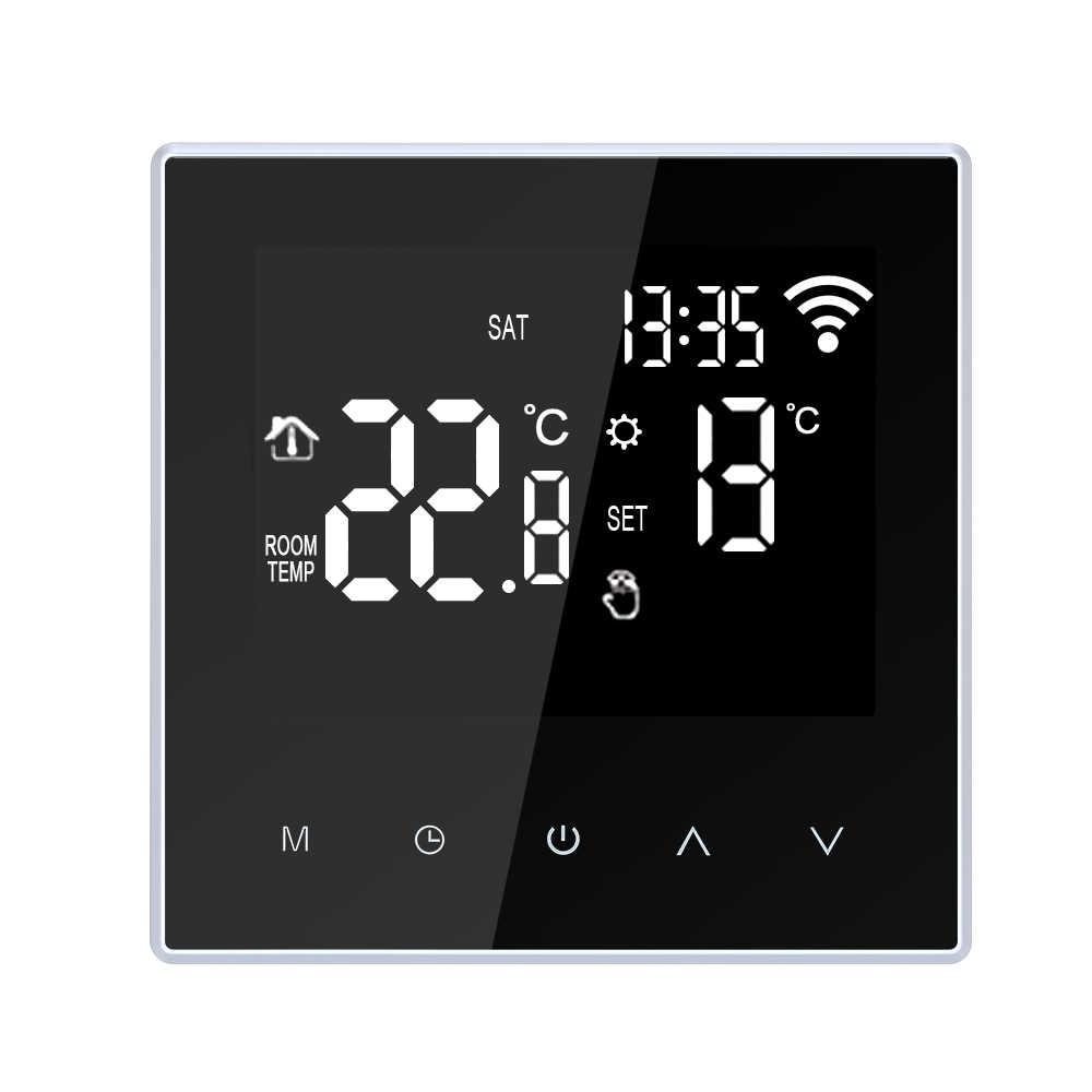 واي فاي منظم حراري ذكي متحكم في درجة الحرارة التدفئة الكلمة تحت البلاط APP التحكم للبرمجة واي فاي ترموستات 16A التيار المتناوب 100-250 فولت
