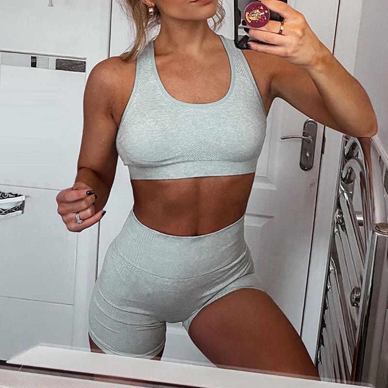 Frauen Yoga Set 2 Stück Vital Nahtlose Sport Anzug Turnhalle Kleidung Fitness Crop Top Hemd Hohe Taille Shorts Ärmellose Lange hülse