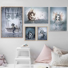 Miss Rabbit Childrens Room Decorative Painting Home Wall Poster Art Picture Abstract Living Bedroom