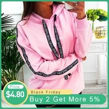 Женская толстовка с капюшоном с буквенным ремешком, пуловер с капюшоном и длинным рукавом, Свободные повседневные толстовки с карманами для девушек размера плюс 5XL