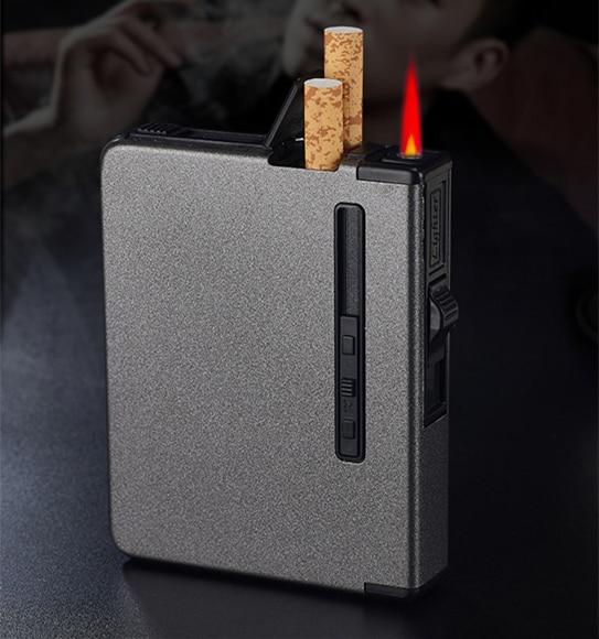 Butane Lighter Smoking Accessories Portable Metal Cigarette Case 12pcs Alloy Cigarettes Case Automatic Windproof Creative Fuel