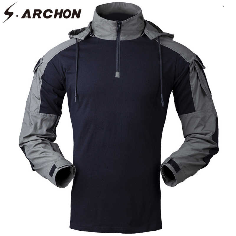 S.ARCHON Military Hooded T-shirts Men Cotton Camouflage Long Sleeve Combat Army Tactical T-shirts Special Force Airsoft Clothing