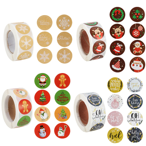 500pcs/roll Merry Christmas paper stickers gift box Sealing Sticker label xmas navidad Noel 2020 Christmas decorations for home