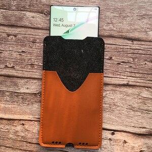 Image 4 - Saco de telefone, para samsung galaxy note10 plus 6.8 ultra fino artesanal lã sentiu capa de manga do telefone para galaxy note10 mais acessórios