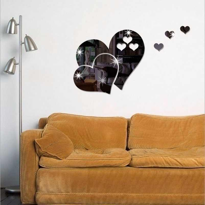 5 цветов 3D Зеркальная Наклейка на стену в виде сердца наклейки милые DIY домашнее художественное украшение на стену комнаты