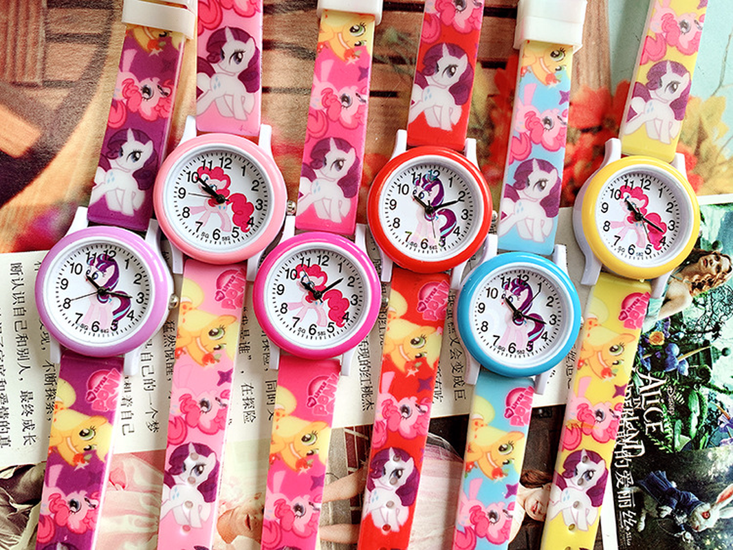 2019 New Pony Print Silicone Band Kids Watch Girl Cute Cartoon Quartz Watch Wrist Watch