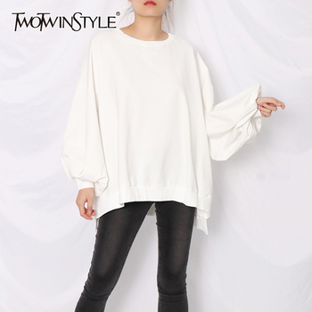 TWOTWINSTYLE White Casual Sweatshirt For Women O Neck Batwing Sleeve Loose Should Sweatshirts Female 2020 Fall Fashion New Tide twotwinstyle korean hollow out sweatshirt for women o neck long sleeve casual black sweatshirts female 2020 fall fashion new