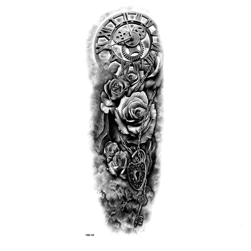 Mechanical Clock Lock Full Arm Waterproof Temporary Tattoos Men