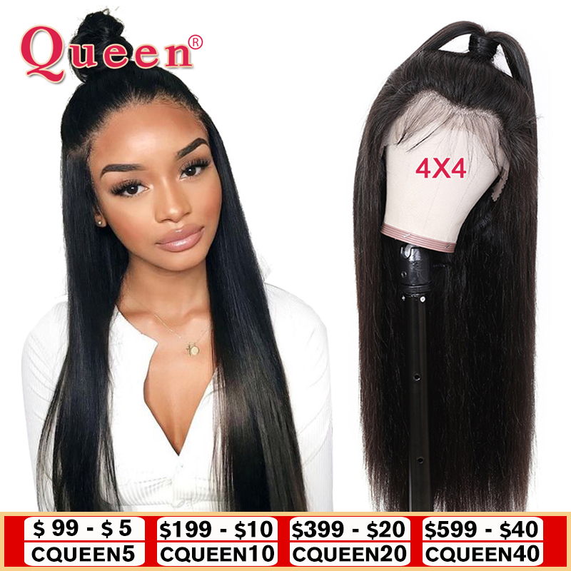 Queen Closure Wigs Hair-Products Human-Hair Lace Natural-Color Straight Women Brazilian title=