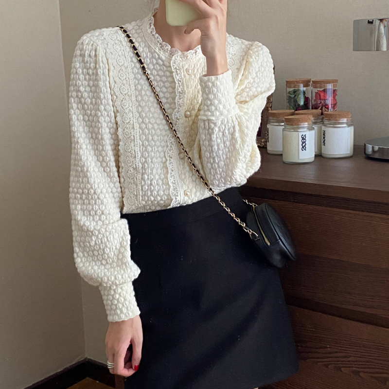 Hef7da42b2ca4421db8be7b6f890e604bu - Spring / Autumn O-Neck Long Sleeves Lace Buttons Blouse