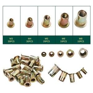 Image 2 - 100 шт., гайки из углеродистой стали/алюминия с заклепками, M3 M4 M5 M6 M8, набор гаек с плоской головкой, вставки и заклепки разных размеров