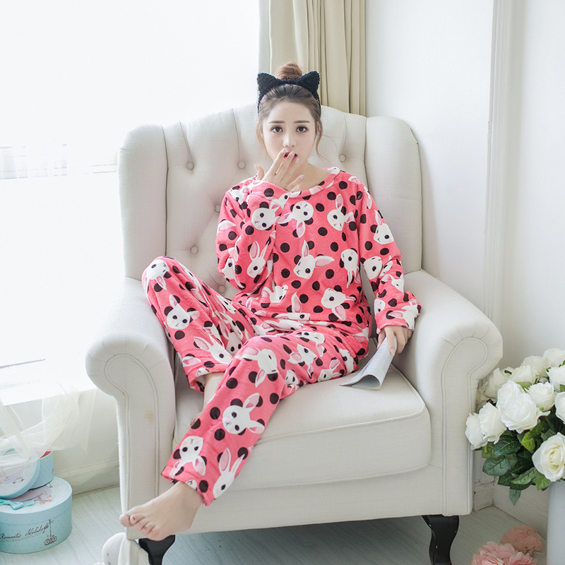 Betyline 2019 New Winter Pajamas For Women Sleepwear Warm Flannel Long Sleeves Pajamas Cute Animal Homewear Thick Homewear 159