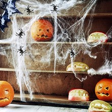 1Pack Halloween Scary Party Scene Props White Black Stretchy Cobweb Spider Web Horror Halloween Decoration For Home Bar Haunted(China)
