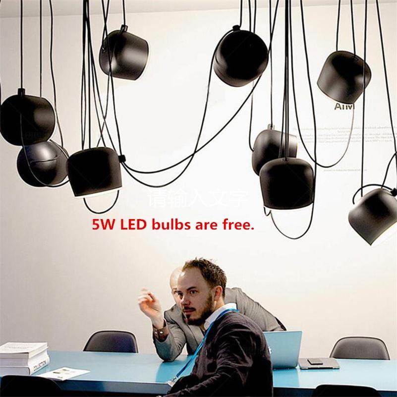 Modern Spider Pendant Lights Drum Lamparas de Techo Colgante Dining Restaurant Coffee Industrial Suspension Hanging Lamps Custom