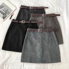 2020 Women Sashes Chic Skirt Autumn Winter Harajuku Solid High Waist Casual A-li
