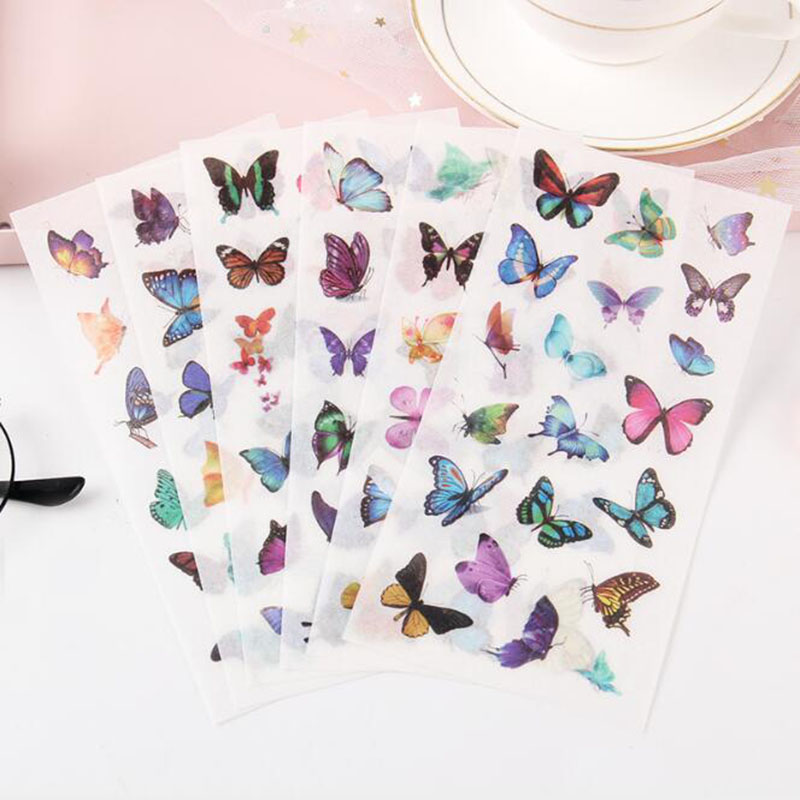 6pcs  Beautiful PVC Flower Stickers Summer Cola Cartoon Animal Notebook Supplies Diy Stationery Scrap Paper Decorative Album