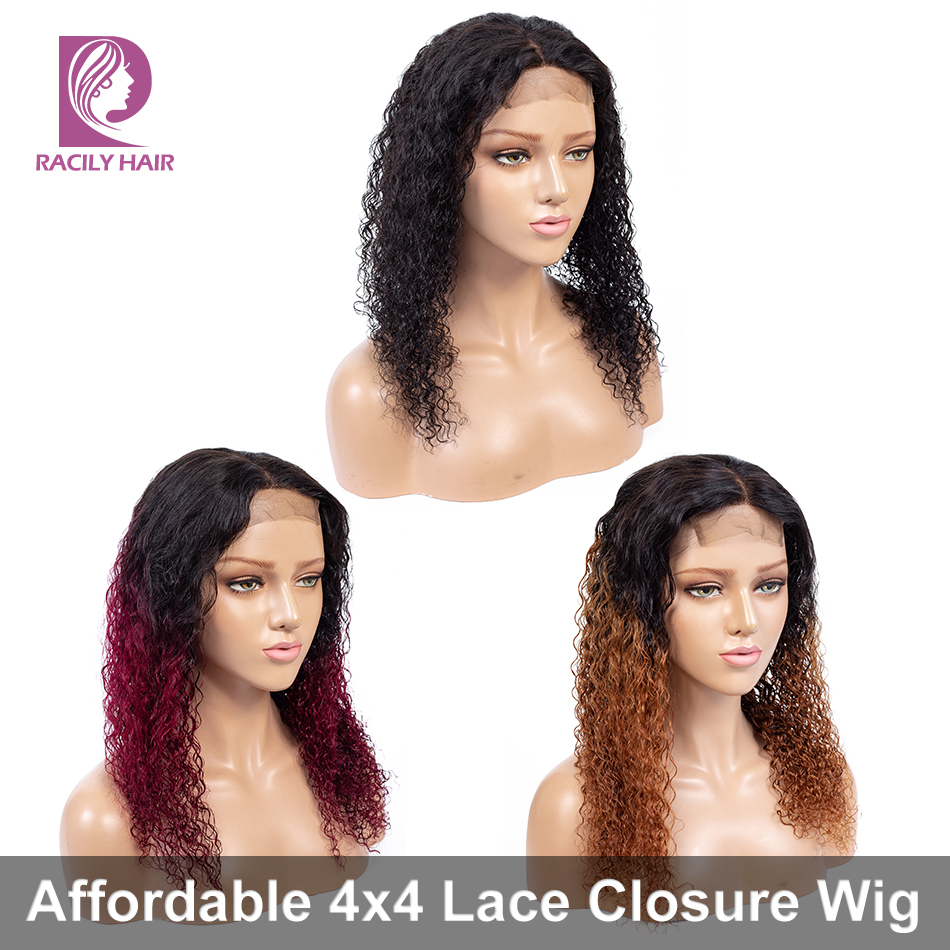 Racily Hair Ombre Lace Closure Wig Remy 4x4 Lace Closure Human Hair Wigs Pre Plucked Brazilian