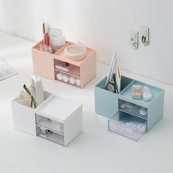 Makeup Storage Box Cosmetic Drawer Organizer Jewelry Nail Polish Makeup Container Home Office Desktop Sundries Storage Box plastic cosmetic storage box makeup organizer with drawer desk sundries storage container organizer cosmetic storage box